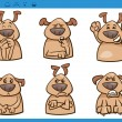 Постер, плакат: Dog emotions cartoon illustration set