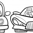 Постер, плакат: Malicious driver cartoon coloring page