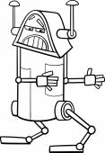 Black and White Cartoon Illustration of Funny Fantasy Robot Character for Coloring Book