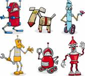 Cartoon Illustration of Funny Robots or Droids Fantasy Set