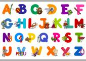 Cartoon Illustration of Capital Letters Alphabet for Reading and Writing Education for Preschool Kids