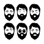 Illustration of modern flat emoticons with beard man isolated on white background