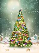 Christmas scene snowfall covered little village with tree EPS 10 vector file included