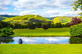Beautiful Scottish landscape with hills and water