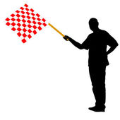 Man waving at the finish of the red white checkered flag Vector illustration