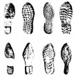 Постер, плакат: Collection imprint soles shoes black silhouette Vector illustration