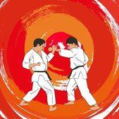 Illustration two boys demonstrate karate