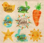 Happy easter symbols painted pastel colored stylized kids style sun sun chicken egg rabbit carrot star on kraft paper