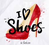 Watercolor poster lettering i love shoes drawing in vintage style on crumpled paper