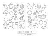 Flache Früchte Gemüse Icons