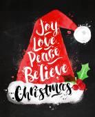 Watercolor Christmas poster Santa hat lettering joy love peace believe Christmas drawing in vintage style on kraft paper