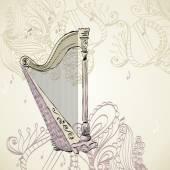 Hand drawn illustration of an ancient harp