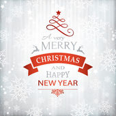Silver textured background with snowflake pattern and faint stripes as base for the wording Merry Christmas and Happy New Year embellished with Christmas Ornaments