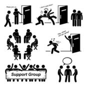 A set of human pictogram representing support group situation and scenario