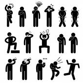 A set of human pictogram representing basic human poses such as shock scared anxious facepalm crying toilet urgency pee poo proud punching own face pulling hair out hungry thirsty drinking water reading note celebrating and unstable