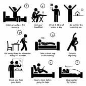 Zdravý životní styl každodenní tipy panáček piktogram ikony