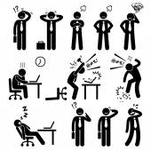 A set of human pictogram reprensenting business businessman poses and action of a stressful workplace The businessman is confuse sad angry and fed up with his works