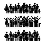 A set of human pictogram representing a group of people standing and working towards a community