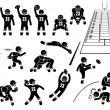 Постер, плакат: American Football Player Actions Poses Stick Figure Pictogram Icons