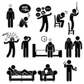 A set of pictograms about human psychology problem mental disorder and mental illness This person is seeking phychitric for consultation and help