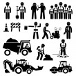 Постер, плакат: Road Construction Worker Stick Figure Pictogram Icons