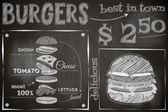 Burger Menu Poster on Chalkboard Hamburger Ingredients Big Burger Vector Illustration