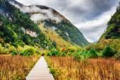 Wooden boardwalk leading to mountains, Jiuzhaigou National Park