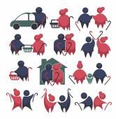 Boldog nyugdíjas éveket!: régi emberek szimbólumok gyűjteménye vektor