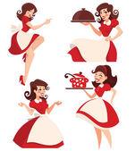 Accumulazione di retro donna casalinga disponibile vettore del fumetto