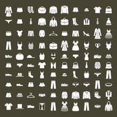 Clothes icon vector set, vector collection of fashion signs and symbols.
