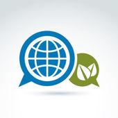Globus mit Blättern wachsen und Rede Blasen Symbol, ökologische de