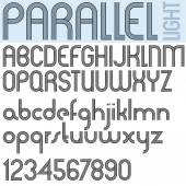 PARALLEL stripes retro style font light version vector alphabet trendy and stylish letters design Best for use in retro style posters and graphic designs Vector