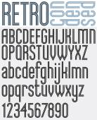 Retro triple line stripes font light condensed version pattern old style alphabet Best for use as a headlines in advertising stylish retro graphic designs posters and web design Vector