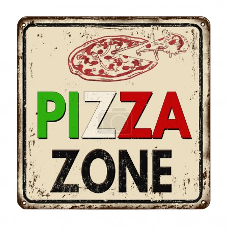 Pizza zone vintage rusty metal sign