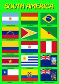 South American flags Vector illustration High level of details Each flag is on separate layer Isolated on green