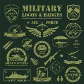 Military and armored vehicles logos and badges Graphic template Vector illustration