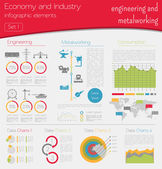 Economy and industry Engineering and metalworking Industrial infographic template Vector illustration