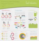 Hospodářství a průmyslu. Průmysl paliv. Průmyslové infographic temp