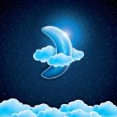 Moon clouds and stars Sweet dreams wallpaperVector illustration