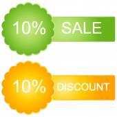 Vector 10 percent  Sales in green and orange tones