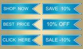 Set of vector sales labels in blue tones