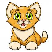 Illustration of the smiling happy cute little kitten