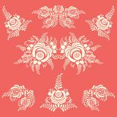 Vector Floral elements in Gzhel style Flower background