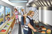 A vector illustration of chef and his helpers cooking inside a food truck