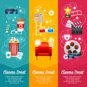Realistic cinema movie poster template with film reel clapper popcorn 3D glasses conceptbanners