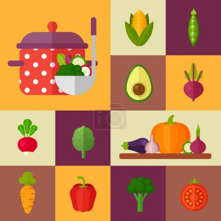 Trendy set of stylish flat vegetable icons