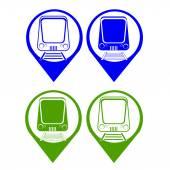 Vector set silhouette modern express train on simbol map point