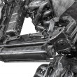 Постер, плакат: Closeup War machine sculpture made from scrap metal