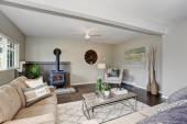 Modernizovaný obývací pokoj s krbem a nadýchané koberec