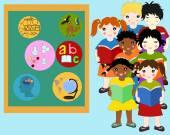 Děti z různých závodů s knihami v rukou v blízkosti školy bo